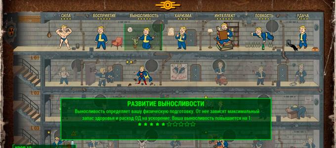 Fallout 4 система развития персонажа, распределение очков S.P.E.C.I.A.L.