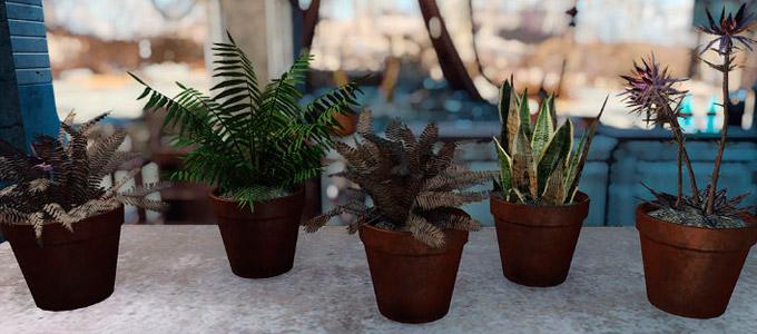 Fallout 4 Комнатные растения в горшках / Eli's Craftable Flower Pots