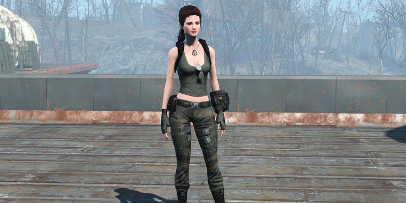 Военное одеяние CBBE Броня Одежда Моды для Fallout 4 / Фоллаут 4